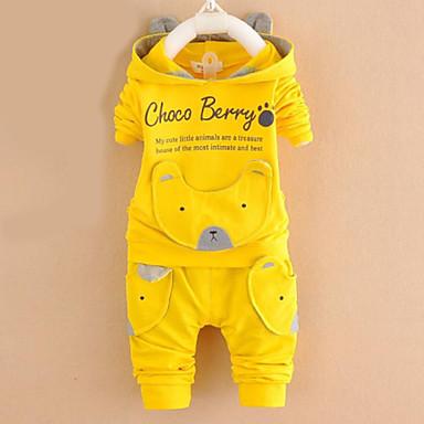 preiswerte Süße Herbstzeit-Baby Jungen Aktiv Alltag Hund Cartoon Design Buchstabe Druck Langarm Standard Baumwolle Kleidungs Set Dunkelblau