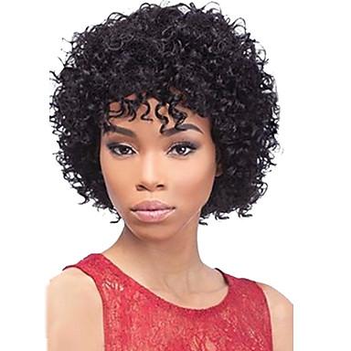 วิกผมจริง วิก ทรงผมสั้น 2019 กับ Bangs Berry สไตล์ แอฟริกา เป็นลอนคลื่น วิก 130% Hair Density เส้นผมธรรมชาติ วิกผมแอฟริกันอเมริกัน 100% มือผูก สำหรับผู้หญิง Short ขนาดกลาง ผมมนุษย์หมวกไร้ผม