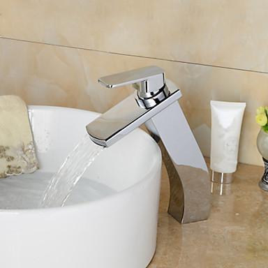 Badrum Tvättställ Kran - Vattenfall Krom Hål med bredare avstånd Ett hål / Singel Handtag Ett hål