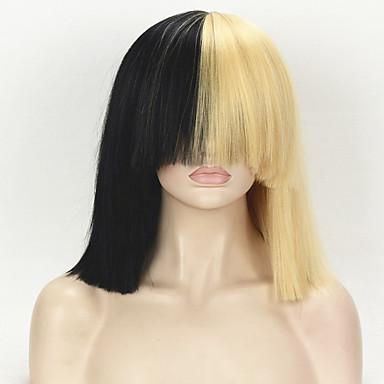 billige Kostymeparykk-Syntetiske parykker Kostymeparykker Rett Kinky Glatt Stil Lokkløs Parykk Blond Blond Syntetisk hår Dame Blond Parykk Medium Lengde StrongBeauty
