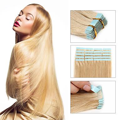voordelige Extensions van echt haar-Febay Tape-in Extensions van echt haar Recht Onbehandeld haar Braziliaans haar Blonde
