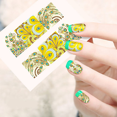 1 pcs 3D Nail Stickers Water Transfer Sticker nail art Manicure Pedicure Lovely Flower / Cartoon / Fashion Daily