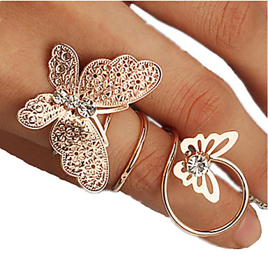 cheap Rings-Women's Silver Golden Rhinestone Alloy Unusual Unique Design Fashion Party Daily Jewelry Butterfly