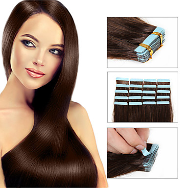 cheap Tape in Hair Extensions-Febay Tape In Human Hair Extensions Straight Human Hair Human Hair Extensions Brazilian Hair 1 Bundle Women's Medium Auburn