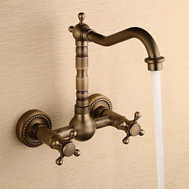 ก๊อกน้ำอ่างล้างจานห้องน้ำ - น้ำตก ทองแดงโบราณ ตัวเจาะนำศูนย์ สองรู / สองมือจับสองหลุมBath Taps