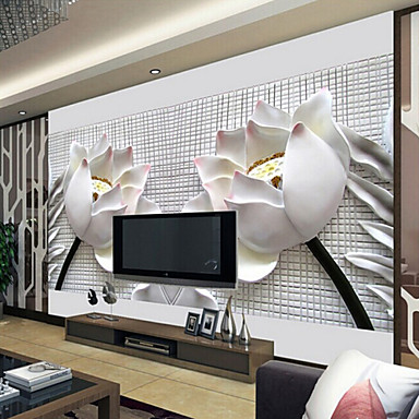 Shinny leather effect large mural wallpaper 3d lotus art - Wallpaper one wall in living room ...