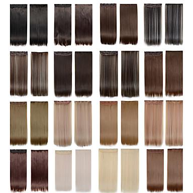 voordelige Synthetische extensions-5 clips lange rechte kleur 4/613 synthetisch haar clip in hair extensions voor dames meer kleuren beschikbaar