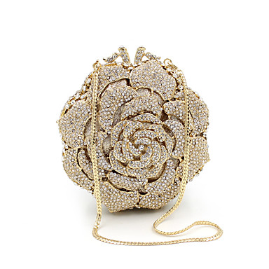 cheap Clutches & Evening Bags-Women's Bags Metal Clutch Crystals for Wedding / Party / Event / Party Gold / Wedding Bags