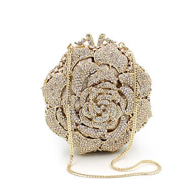 economico Sacchetti-Per donna Sacchetti Metallo Pochette Dettagli con cristalli per Matrimonio / Feste / Serata / evento Oro / Borse da sposa