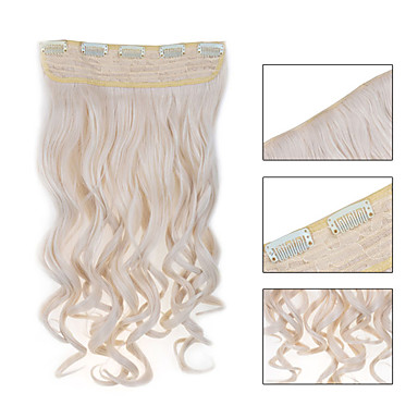 voordelige Extensions van echt haar-Febay Clip-in Extensions van echt haar Golvend Synthetisch haar Haar stuk Strawberry Blonde /  Bleached Blonde