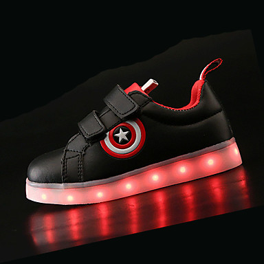cheap For ages 4-7yrs.-Boys' Comfort / LED Shoes PU Sneakers Little Kids(4-7ys) / Big Kids(7years +) LED Black / White Spring & Summer / TR / EU36