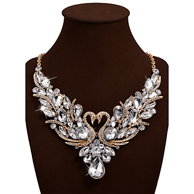 cheap Necklaces-Women's Statement Necklace Bib necklace Swan Animal Rainbow Statement Ladies Luxury Bohemian Synthetic Gemstones Rhinestone Alloy Rainbow White Red Red Necklace & Earrings Colorful Necklace & Earrings