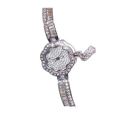 levne Dámské-Dámské Módní hodinky Náramkové hodinky Křemenný Stříbro / Růžové zlato imitace Diamond Analogové Květina Na běžné nošení - Stříbrná Růžové zlato