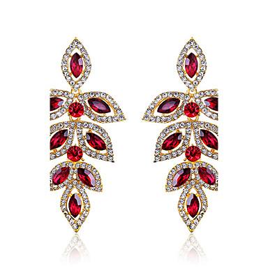 levne Dámské šperky-Dámské Rubínová Visací náušnice Marquise Leaf Shape Luxus Křišťál Umělé diamanty Náušnice Šperky Červená Pro Svatební Párty Denní