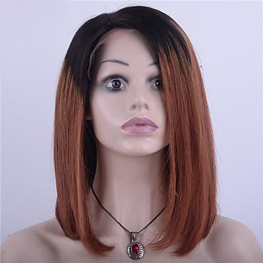 ผม Remy ลูกไม้หน้าไม่มีกาว มีลูกไม้ด้านหน้า วิก บ๊อบตัดผม Rihanna สไตล์ ผมบราซิล Straight Ombre วิก 130% Hair Density ผมเด็ก ผม Ombre เส้นผมธรรมชาติ วิกผมแอฟริกันอเมริกัน 100% มือผูก สำหรับผู้หญิง