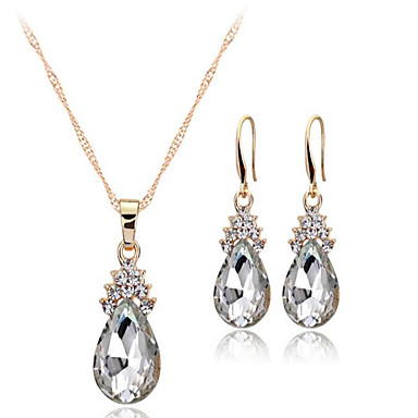 cheap Jewelry Sets-Women's Crystal Jewelry Set Solitaire Drop Ladies European Earrings Jewelry White / Red / Blue For Wedding Party Daily