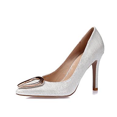 Mujer Zapatos Purpurina Primavera / Verano Tacones Tacón Stiletto Dedo Puntiagudo Blanco / Negro / Plata / Boda / Fiesta y Noche eJHTlfB