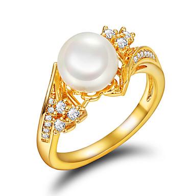 billige Motering-Dame Ring Forlovelsesring Perle Gylden Perle Imitert Perle Gullbelagt Bryllup Fest Smykker / 18K Gull