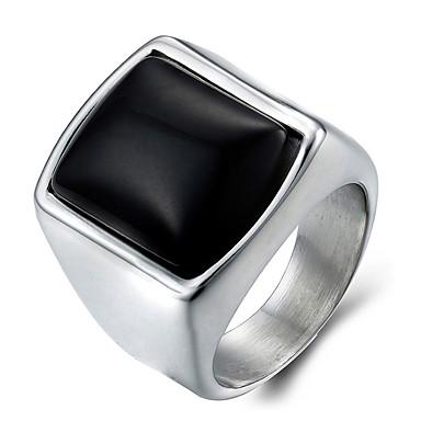 voordelige Herensieraden-Heren Statement Ring Ring Zegelring Onyx Zilver Synthetische Edelstenen Agaat Titanium Staal Modieus Dagelijks Causaal Sieraden