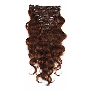 povoljno Ekstenzije od ljudske kose-S kopčom Proširenja ljudske kose Tijelo Wave Virgin kosa Ekstenzije od ljudske kose Brazilska kosa Žene Bež