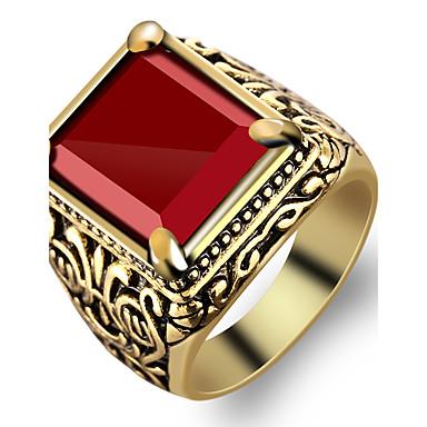 สำหรับผู้ชาย แหวน แหวนตรา แดง เรซิน โลหะผสม แฟชั่น Military ปาร์ตี้ ทุกวัน เครื่องประดับ เล่นไพ่คนเดียว Emerald Cut แหวนโรงเรียนมัธยม ชั้น