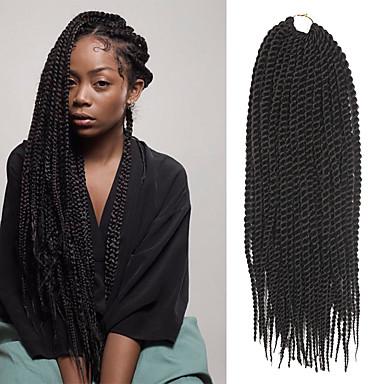 povoljno Ekstenzije za kosu-Senegal Twist pletenice Ekstenzije za kosu 18 Inch Kanekalon 30 Strands (Recommended By 3 Packs for a Full Head) Nasukati 98g gramSušilo
