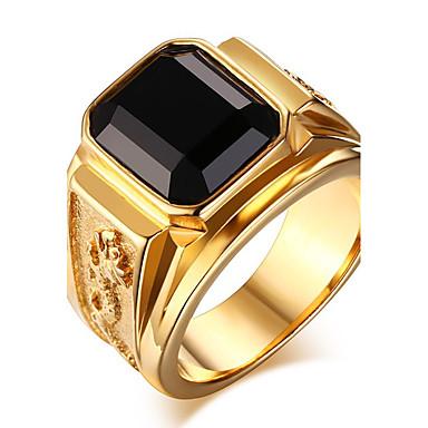 สำหรับผู้ชาย คำชี้แจง Ring แหวน แหวนตรา ไพลิน Onyx ทอง สีเขียว แดง หินอาเกต Titanium Steel เอเชียน วินเทจ แฟชั่น ทุกวัน ที่มา เครื่องประดับ เล่นไพ่คนเดียว Emerald Cut