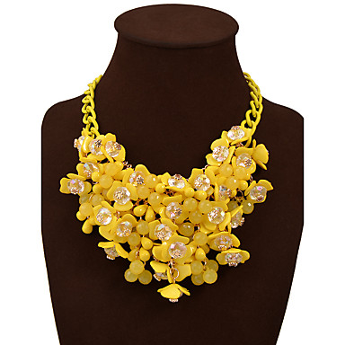 cheap Necklaces-Women's Statement Necklace Flower Statement Bohemian Chunky Resin Plastic Alloy Rainbow White Yellow Red Blue Necklace Jewelry For Wedding Party Birthday Daily Valentine