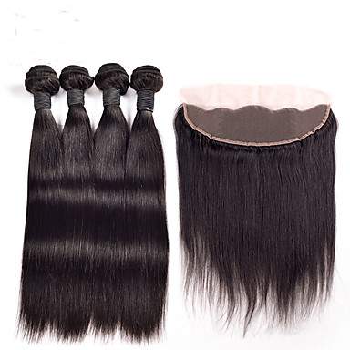 povoljno Ekstenzije od ljudske kose-4 paketića Peruanska kosa Ravan kroj Ljudska kosa Ljudske kose plete Isprepliće ljudske kose Proširenja ljudske kose / 8A
