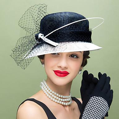 voordelige Hoeden-Vlas / Veer / Net Kentucky Derby Hat / fascinators / hatut met Bloemen 1pc Bruiloft / Speciale gelegenheden  / Causaal Helm