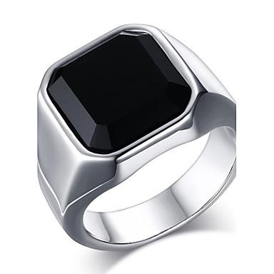 voordelige Herensieraden-Heren Statement Ring Ring Zegelring Onyx Goud Zilver Roestvast staal Agaat Vintage Modieus Dagelijks Causaal Sieraden Emerald Cut