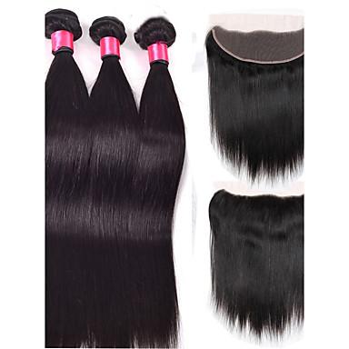 povoljno Ekstenzije od ljudske kose-4 paketića Brazilska kosa Ravan kroj Ljudske kose plete Isprepliće ljudske kose Proširenja ljudske kose / 8A