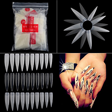 cheap Nail Care & Polish-500pcs pack long sharp stiletto false acrylic nail art tips