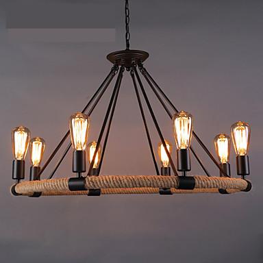 8-light โคมระย้าเชือกป่าน uplight ทาสีเสร็จ led โลหะ, นักออกแบบ 110-120 โวลต์ / 220-240 โวลต์วอร์มสีขาวหลอดไฟไม่รวม / e26 / e27