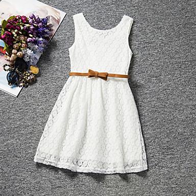 preiswerte Bis 90 % Rabatt-Kinder Mädchen Süß Party Alltag Geburtstag Solide Spitze Ärmellos Standard Standard Kleid Weiß