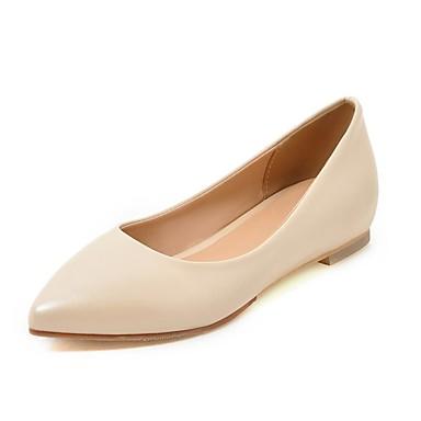 สำหรับผู้หญิง รองเท้าส้นเตี้ย ส้นแบน Pointed Toe จับจีบ หนังเทียม ความสะดวกสบาย วสำหรับเดิน ฤดูใบไม้ผลิ / ฤดูร้อน สีดำ / ขาว / แดง