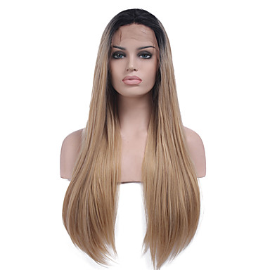 Synthetic Lace Front Wig Straight Middle Part Natural Hairline Dark Roots Ombre Hair Black Women's Lace Front Carnival Wig Halloween Wig