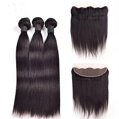 povoljno Ekstenzije od ljudske kose-4 paketića Peruanska kosa Ravan kroj Ljudske kose plete Isprepliće ljudske kose Proširenja ljudske kose / 8A
