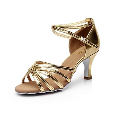 cheap SUN LISA-Women's Dance Shoes Satin Latin Shoes / Salsa Shoes Buckle Sandal Customized Heel Customizable Silver / Brown / Gold / Performance / Leather / EU40