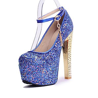 1dd2a1b5ae Mujer Zapatos Purpurina Primavera Verano Otoño Tacones Tacón Cuadrado Dedo  redondo Lentejuela Para Boda Casual Fiesta y Noche Blanco Azul 5532098 2019  – ...
