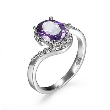 สำหรับผู้หญิง แหวน แหวนห่อ Cubic Zirconia Amethyst สีม่วง สีน้ำตาลอ่อน เพทาย Cubic Zirconia โลหะผสม สไตล์เรียบง่าย แฟชั่น ที่มา เครื่องประดับ จำลอง