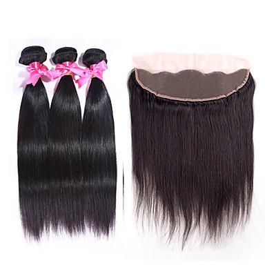povoljno Ekstenzije od ljudske kose-3 paketi s zatvaranjem Peruanska kosa Ravan kroj Ljudska kosa Ljudske kose plete Isprepliće ljudske kose Proširenja ljudske kose / 8A