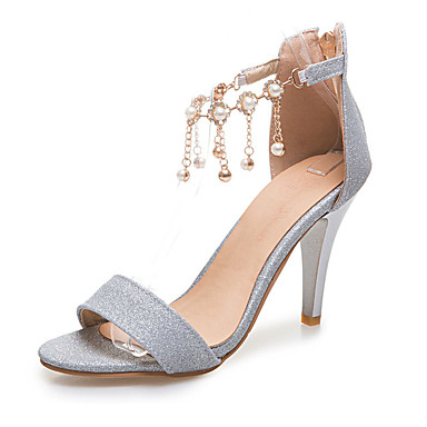 eaccd347e4ef Women s Shoes Patent Leather Glitter Spring Summer Fall Sandals Stiletto  Heel Peep Toe Rhinestone Beading Tassel Chain for Wedding Casual 5515352  2019 – ...