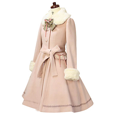 Princess Lolita Fur Trim Girly Winter Coat Women's Girls' Lace Cotton Japanese Cosplay Costumes Solid Colored Long Sleeve Above Knee Medium Length