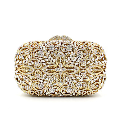 cheap Bags-Women's Crystal / Rhinestone Metal Evening Bag Wedding Bags Floral Print Gold