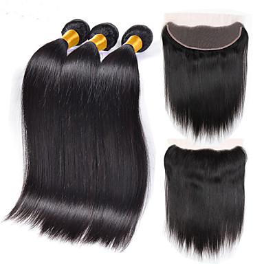 povoljno Ekstenzije od ljudske kose-3 paketi s zatvaranjem Indijska kosa Ravan kroj Ljudska kosa Ljudske kose plete Isprepliće ljudske kose Proširenja ljudske kose / 8A