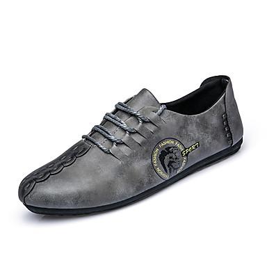 Hombre Zapatos Sintético Primavera / Otoño Confort Zapatos de taco bajo y Slip-On Paseo Negro / Gris / Caqui / Fiesta y Noche VFTm8t
