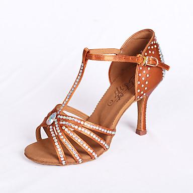 povoljno Odjeća i obuća za ples-Žene Plesne cipele Saten Cipele za latino plesove / Standardni / Cipele za salsu Štras Sandale Deblja visoka potpetica Nemoguće personalizirati Smeđa / EU39