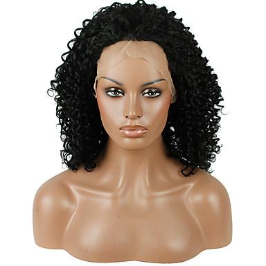 วิกผมสังเคราะห์ Kinky Curly หยิกหยักศก มีลูกไม้ด้านหน้า ผมปลอม ดำสนิืท สังเคราะห์ สำหรับผู้หญิง เส้นผมธรรมชาติ ดำ