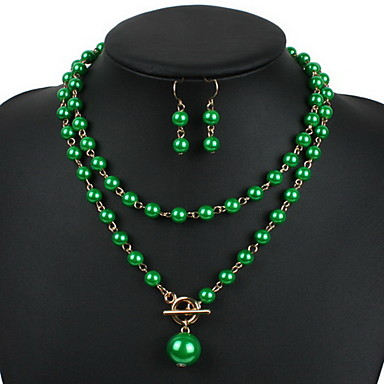 cheap Hair Jewelry-Women's Pearl Jewelry Set Drop Earrings Pendant Necklace Long Ladies European Fashion Elegant Long Pearl Earrings Jewelry Fuchsia / Red / Green For Party Special Occasion Anniversary